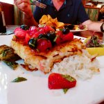 coconut encrusted grouper with berry salsa