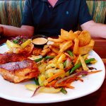 blackened seafood grill with fries