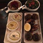 Stage 2: Kafta, Babaganouj, char grilled chicken, felafel, tabouleh, and m'jadara