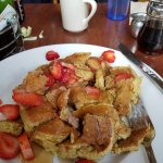 whole wheat pancakes and strawberries
