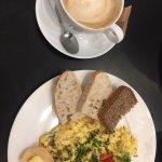 scrambled eggs and cappuccino