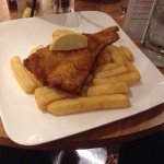 I didn't take pics of all meals. (Note. Their haddock & chips is usually served with peas & tart