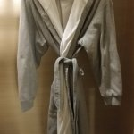 A comfy jersey robe that you are welcome to take home with you (for $190)