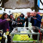 Day out with our lodgers at Obidos enjoying a chocoloate Ginja cup !