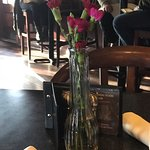 Real carnations adorning the table, Longwood Brew Pub & Restaurant,5775 Turner, Nanaimo B