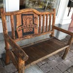 Rustic wooden bench at entrance,Longwood Brew Pub & Restaurant,5775 Turner, Nanaimo BC