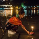Releasing a krathong from the hotel restaurant