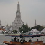 Ferry ride to the temple crossing Chao Phraya River