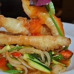 Tempura of Lemon Sole served with Wok fried Vegetables and a Sweet Chili and Ginger Butter Sauce