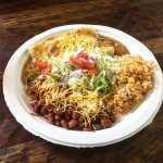 enchilada plate with rice and beans