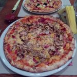 A big and a small pizza at UnoPiu - tasty, mmm