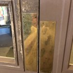 Filthy door in reception
