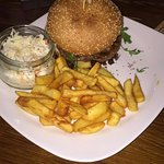 Lux Burger with coleslaw and french fries