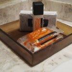 Toiletries: shampoo, bath soap and tissue