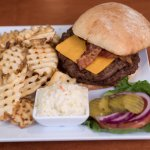 Try our bacon cheeseburger at the Over/Under Bar and Eatery