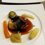 Magret de canard,sauce miel orange, petits légumes frais