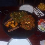 Tava for 2 (Seekh Kebab, Chicken Tikka, Lamb Buna & Chicken Karahi with Spinach added)