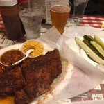 Dry-rub style ribs, rice & beans, pickles and Ghost Ale beer