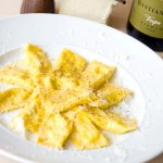 Cacio e Pere Ravioli is a beautiful cheese and pear dish.