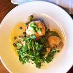 Gulf Shrimp / Pecorino Risotto Cake with Peal / Pea Coulie / Truffle Vinaigrette