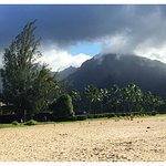 Hanalei Beach and the Misty Hanalei Mountains