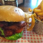 Overcooked halloumi burger and curly fries