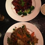 Crispy orange beef, Happy noodles and Shrimp, scallops and chicken in a spicy sauce with lo mein