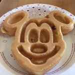 Mickey Mouse waffle for breakfast (they have 4 waffle irons!)