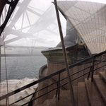 View from within the opera house of the outside structure