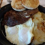 STEAK, EGGS, POTATOES AND ENGLISH MUFFIN