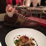 Eat the shoe food! Delicious chicken fritters and a scallop.