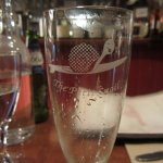 Engraved wine glass.
