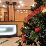 Christmas tree at the reception desk