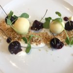 Icewine cherries, white chocolate custard