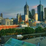 View from our room of the Southbank, Yarra River, and CBD