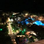 View over pool area at night