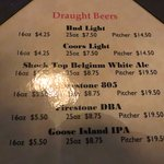 Beer Options (Goose Island- STRONGLY recommended)