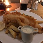 Fish and chips in the hotel bar