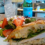 Delicious sandwich on Ciabatta bread with side Strawberry Fields Salad