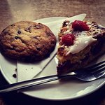 Almond and Raspberry Cake with chocolate biscuit