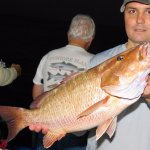big mangrove snapper from the deep sea fishing at Hubbard's Marina