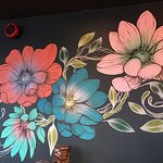 Hand painted flowers on the wall to link with the Hampton Court flower show!