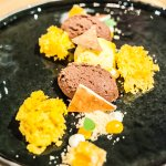 FINE - Dessert of Chocolate Mousse w Mango Sorbet Winegum and Sponscake
