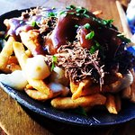 Poutine. Crispy Fries, Cheese Curds, Gravy & Braised Short Rib!