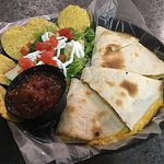QUESADILLA (Chipotle chicken, colby jack cheese served with lettuce salad & our homemade salsa)