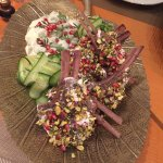 """Mediterranean inspired pistachio rack of lamb and """"the Mac and Cheese"""""""