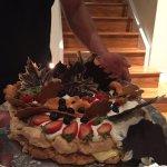 Pavlova cake - hazelnut, custard, and cream.