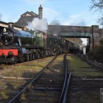 GWR Hall and a 9F haul the first train out of Quorn