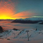 The sky was on fire. From the Alyeska Resort Webcam.