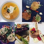 Clockwise from 1100: Lobster bisque, smoked trout, beef short rib tortellini, duck, chocolate mo